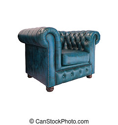 Classic Blue leather armchair isolated on white background with