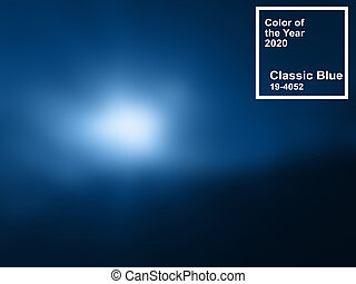 Classic blue pantone main color trend of the Year 2020. Abstract blurred background with text