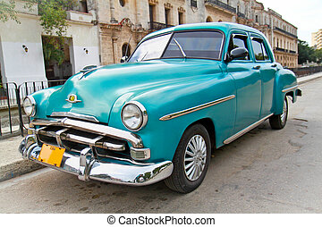 HAVANA-FEBRUARY 1:Classic blue Plymouth on February 1, 2010,Havana. Under current law that the government plans to change before 2012,Cubans can only buy and sell cars that were in use before 1959.