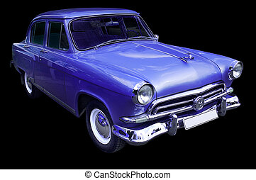 Old classic blue vintage car isolated