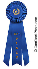 "blue ribbon - classic blue ribbon with ""First Place"" ..."