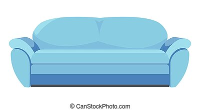 Furniture for styling home or office, isolated icon of blue sofa. Modern couch for interior addition, relaxing on settee, minimalist house complement. Store with assortment, vector in flat style