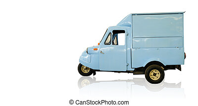Classic blue tricycle isolated on a white backdrop.