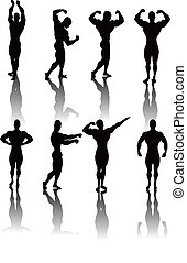 Silhouettes of Classic bodybuilding posing. Divided into layers for easy editing!