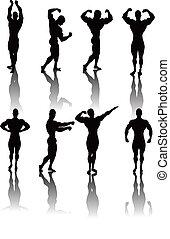 Classic Bodybuilding Poses - Silhouettes of Classic...