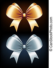 Classic bows - illustration of classic golden and silver...