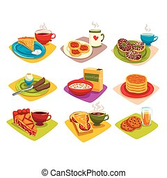 Classic breakfast ideas set. Cartoon illustration with pancakes and coffee, donuts, boiled egg, corn flakes, pie and tea, sandwich, cookies. Flat vector
