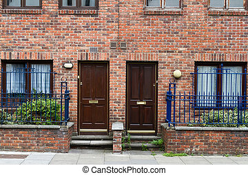 Classic brick walls with doors