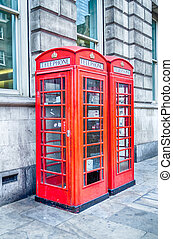 Classic British red phone booth in London
