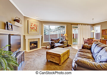 Classic brown and white living room interior