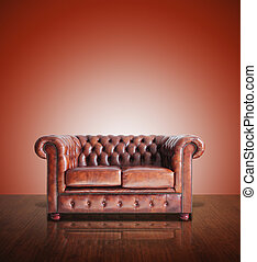 Classic Brown leather sofa and old