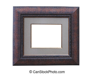 Classic brown wooden frame isolated on white