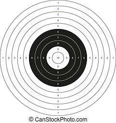 Isolated classic black and white bullseye target with numbers