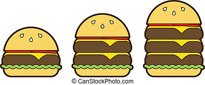 Classic Burger Stack Set - Vector cheeseburger illustration