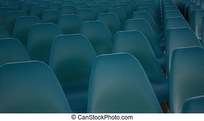 Classic business template with blue empty seats. Empty movie...