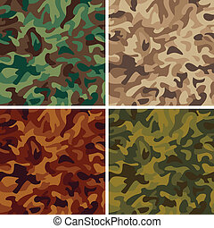 Vector seamless camouflage pattern in four colorways.