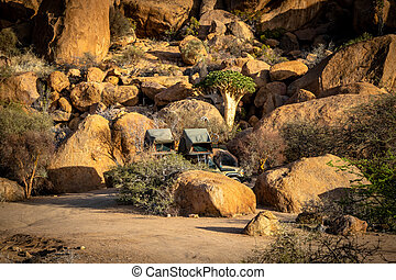 Classic Campground along the mountains of Spitzkoppe in Namibia