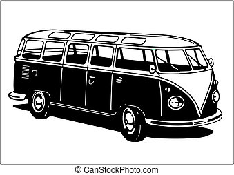 Classic Camping Microbus / Bus isolated on white