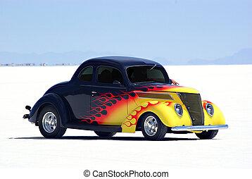 Classic Car - An old classic car on the Bonneville Salt...