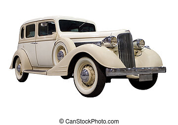 Classic Car - Classic White Car isolated on white