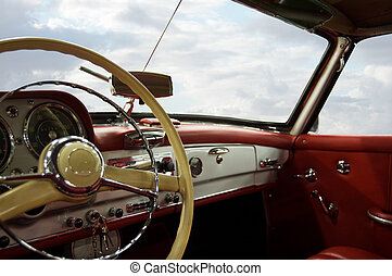 Classic Car Dashboard - Classic Car Red and White Dashboard...