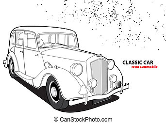 Classic car - Outline classic car on white background