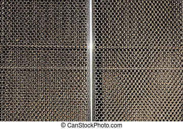 Classic car metal grille close up