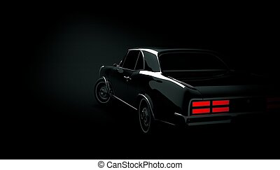 Classic car on a black background. 3d render