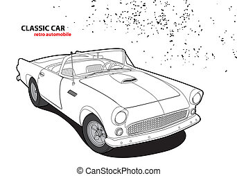 Outline classic car on white background
