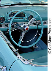 Classic Car - Interior Of A 1955 Classic American Automobile