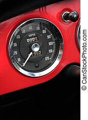 Classic car speedometer - Chromed vintage speedometer in...
