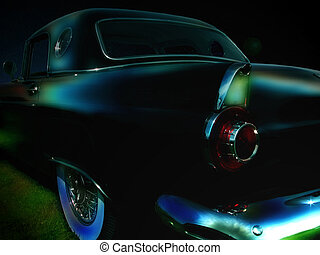Classic car parked in the moon light
