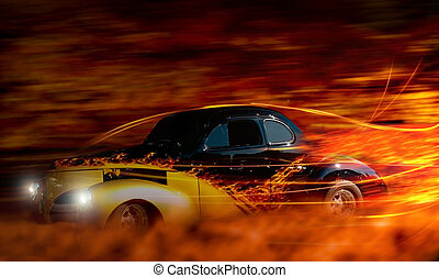 classic car - classic hot rod speeding through the night...