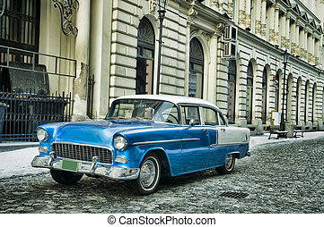 classic car - Blue classic vintage car in Bucharest old...