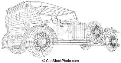 Classic car vector. Trucking vehicle. Wire-frame. The layers of visible and invisible lines are separated. EPS10 format
