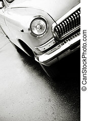 Volga , russian 1960s style vehicle , selective focus