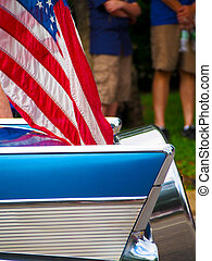 Classic Car with American Flag in Fourth of July Parade