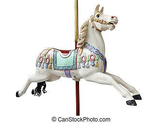 Classic carousel horses - A classic carousel horse on white...