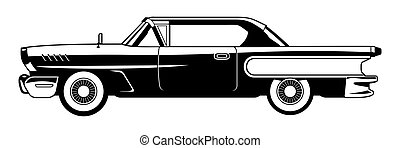 Classic Cars - 60s - black and white illustration of classic...