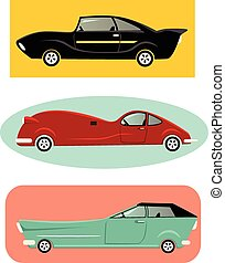 Classic cars - Set of a vintage-inspired cartoon muscle...