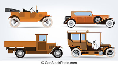 Vector illustration of historical classic cars (retro colors)