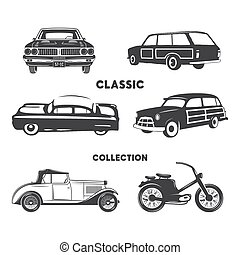 Classic cars, vintage car icons, symbols set.Vintage hand drawn cars, muscle, motorcycle elements. Use for logo, labels, t-shirt prints, tee graphics. Stock vector design isolated on white background.