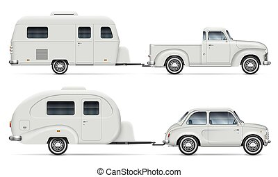 Classic cars with RV camping trailers side view