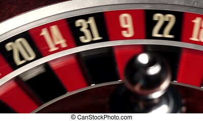 Classic casino roulette spinning, dealer takes the white ball, close up