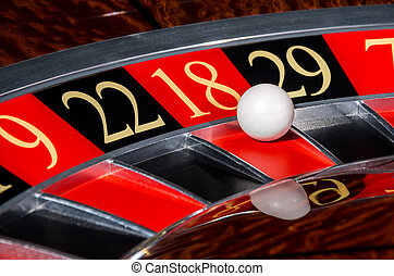 Classic casino roulette wheel with red sector eighteen 18...