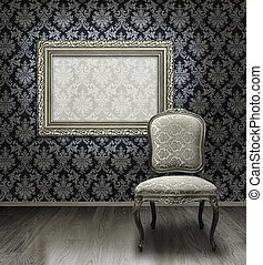 Classic chair and silver frame - Classic antique chair and...