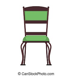 Classic chair green vector icon front view. Furniture home interior isolated. Retro luxury room sit. Cartoon sofa flat stool