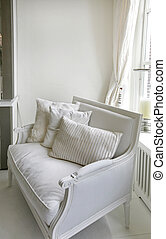 classic chair - classic white chair with decorated fabric