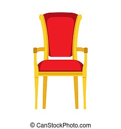 Classic chair red vector icon front view. Furniture home interior isolated. Retro luxury room sit. Cartoon sofa flat stool