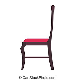 Classic chair red vector icon side view. Furniture home interior isolated. Retro luxury room sit. Cartoon sofa flat stool
